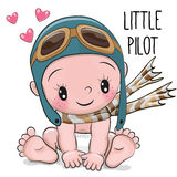 Cute Cartoon Baby boy in a pilot hat Stock Image