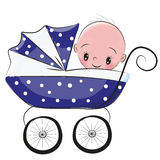 Cute Cartoon Baby boy is sitting on a carriage Royalty Free Stock Photo