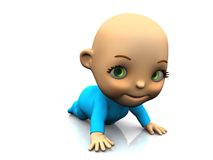 Cute cartoon baby crawling on the floor. Royalty Free Stock Photography