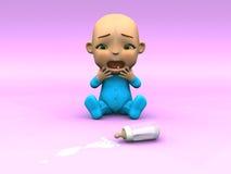 Cute cartoon baby crying over spilt milk. An adorable cute cartoon baby sitting on the floor and crying over spilled milk. Its baby bottle lying on the floor in royalty free illustration