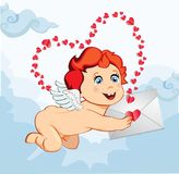 Cute cartoon baby Cupid holding love letter on blue sky backgrou. Cute cartoon baby Cupid or angel  with wings holding love letter on blue sky background with Stock Photo