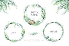 Cute cartoon baby dinosaurs tropical collection watercolor wreath illustration, hand painted dino isolated on a white