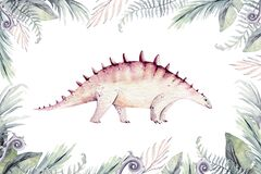 Cute cartoon baby dinosaurs collection watercolor illustration, hand painted dino isolated on a white background for