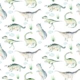 Cute cartoon baby dinosaurs seamless pattern watercolor paper, hand painted dino background texture Jurassic Park . Rex
