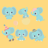 Cute cartoon baby elephant set. Adorable little elephants, greeting cards design elements vector illustration