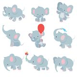 Cute cartoon baby elephants. Animals african safari animals vector set. Elephant african cartoon, happy friendly animal illustration stock illustration