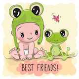 Cute Cartoon Baby and frogg Royalty Free Stock Photo