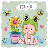 Cute Cartoon Baby in a froggy hat Royalty Free Stock Images
