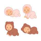 Cute cartoon baby in fuzzy onesie Royalty Free Stock Images