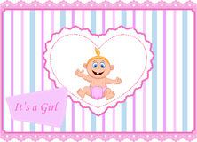 Cute cartoon baby girl card Royalty Free Stock Photography