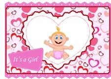 Cute cartoon baby girl card Stock Images