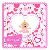 Cute cartoon baby girl card Royalty Free Stock Image