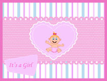 Cute cartoon baby girl card Stock Photography