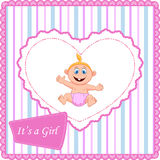 Cute cartoon baby girl card Royalty Free Stock Photography