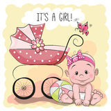 Cute cartoon baby girl Stock Photos