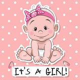 Cute cartoon baby girl Royalty Free Stock Images