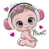 Cute cartoon Baby Girl with headphones on a white background. Cute cartoon Baby Girl with pink headphones on a white background royalty free illustration