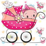 Cute Cartoon Baby girl is sitting on a carriage Royalty Free Stock Photo