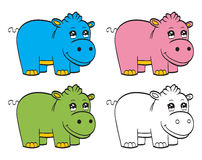 Cute cartoon baby hippo Royalty Free Stock Images
