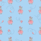 Cute cartoon baby Hippo pattern. Vector background for kids. Royalty Free Stock Images