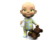 Cute cartoon baby holding teddy and baby bottle. An adorable cute cartoon baby standing on the floor holding a baby bottle in one hand and a teddy bear in the stock illustration