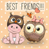 Cute cartoon baby and owl Royalty Free Stock Images
