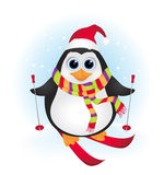 Cute cartoon baby penguin skiing Royalty Free Stock Image