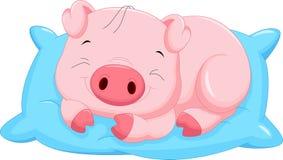 Free Cute Cartoon Baby Pig Sleeping Stock Images - 61767724
