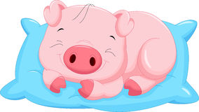 Cute cartoon baby pig sleeping Stock Images