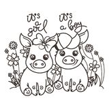 Cute cartoon baby pigs in love. It is a girl, it is a boy. Cute cartoon baby pigs on a flower background. Vector illustration, coloring page Royalty Free Stock Images