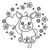 Cute cartoon baby pigs in love. It is a girl, it is a boy. Cute cartoon baby pigs on a flower background. Vector illustration, coloring page Royalty Free Stock Image