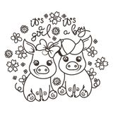 Cute cartoon baby pigs in love. It is a girl, it is a boy. Cute cartoon baby pigs on a flower background. Vector illustration, coloring page Stock Photo