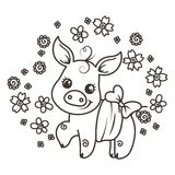 Cute cartoon baby pigs in love. It is a girl, it is a boy. Cute cartoon baby pigs on a flower background. Vector illustration, coloring page Royalty Free Stock Photo