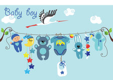 Cute cartoon baby set. Baby boy items Stock Photos
