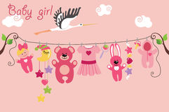 Cute cartoon baby set. Baby girl items Royalty Free Stock Photos