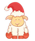 Cute cartoon baby sheep wearing santa hat Stock Photo