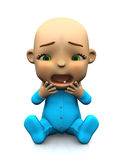 Cute cartoon baby unhappy and screaming. Royalty Free Stock Images