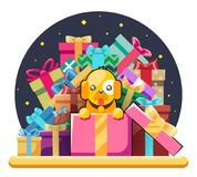 Cute cartoon baby yellow dog cub gift box pile of gifts 2018 year flat design head icons set character vector Royalty Free Stock Photo