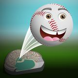 A cute cartoon baseball flying high. Out of the park Stock Photography