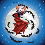 Cute cartoon Bat flying in the night sky Stock Photo