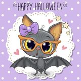 Cute Cartoon Bat with glasses. Greeting Halloween Card Cute Cartoon Bat with glasses and bow royalty free illustration