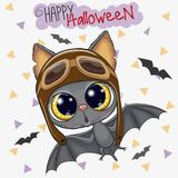 Cute Bat in a pilot hat. Cute Cartoon Bat in a pilot hat vector illustration