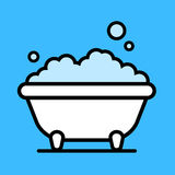 Cute cartoon bathtub with a bubble bath. Of frothy foam inside over a blue background,  illustration Stock Photography