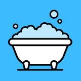 Cute cartoon bathtub with a bubble bath Stock Photography