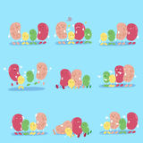 Cute cartoon beans. With different emotion on blure background Stock Image
