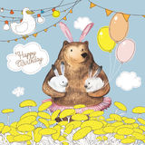 Cute cartoon bear with the balloons holding two little bunnies. Happy Birthday card design. Hand Drawn Stock Photo