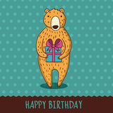 Cute cartoon bear with blue gift box. Vector illustration. Happy Stock Photography