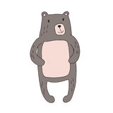 Cute cartoon bear character, vector isolated illustration in simple style. Stock Photo