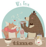 Cute cartoon bear drinking tea Stock Photo