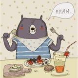 Cute cartoon bear with food Stock Image